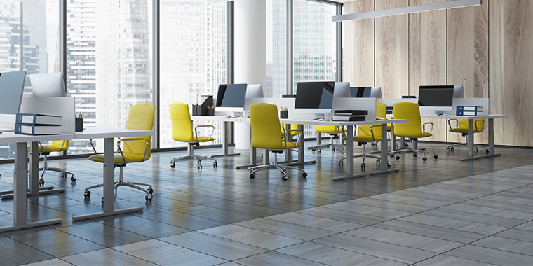 Office Furniture - yellow ergonomic office chairs in modern office space
