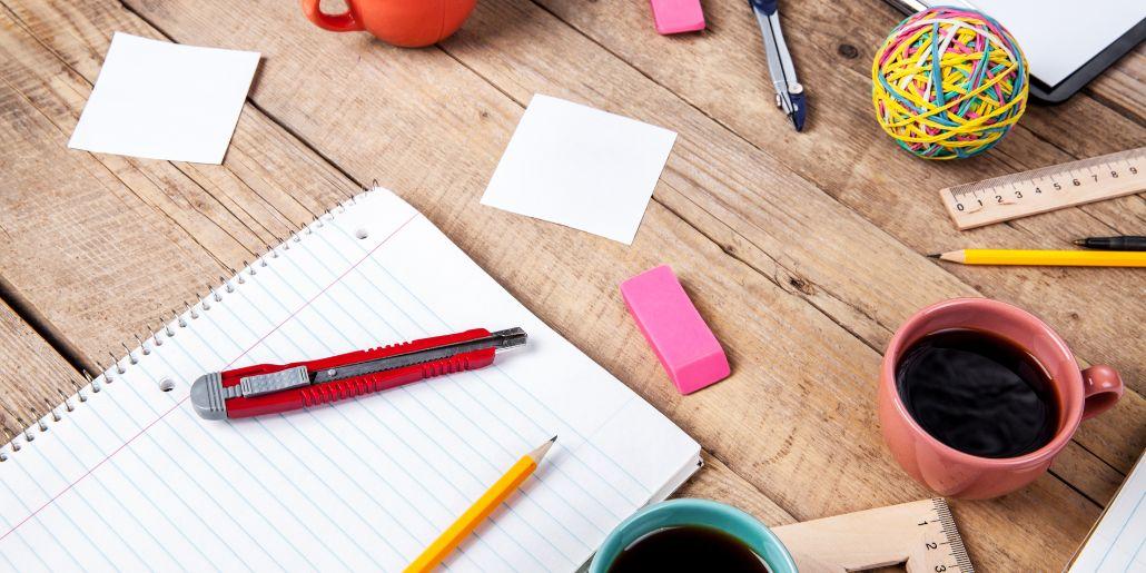 office stationery pens notepad eraser