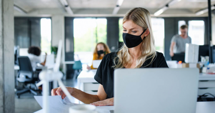 office worker mask after lockdown