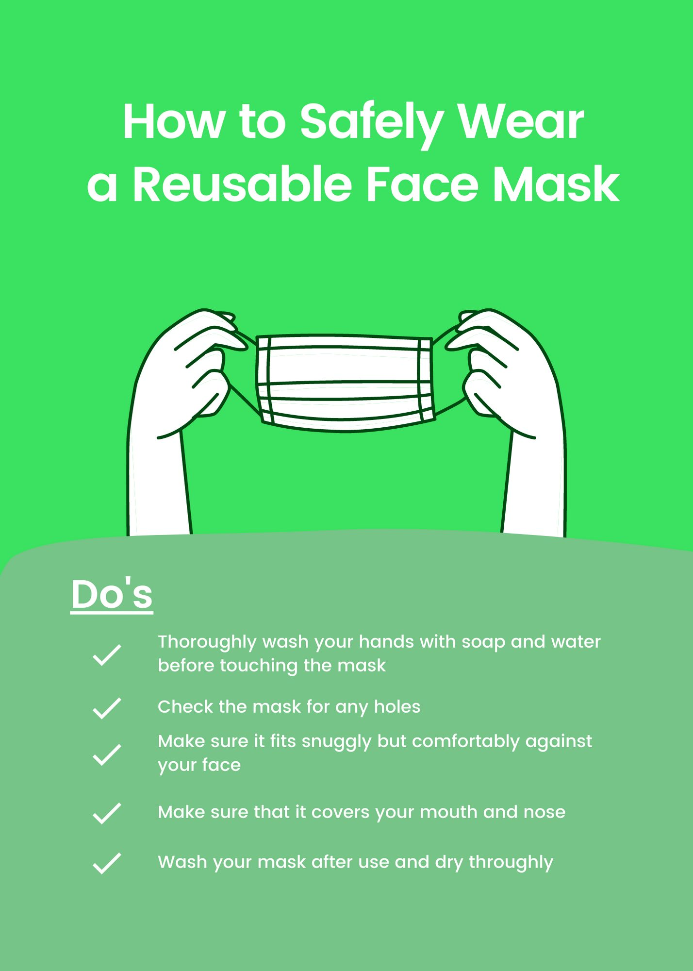 safely wear a reusable face mask